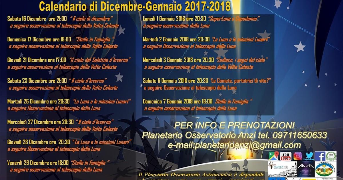Calendario Lunare Dicembre 2017.Planetario Osservatorio Astronomico Anzi Calendario Di