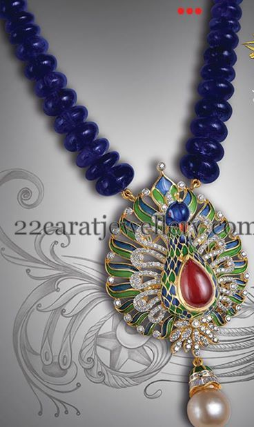 Blue Sapphire Beads Necklace Jewellery Designs