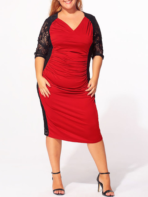 http://www.fashionmia.com/Products/v-neck-lace-patchwork-hollow-out-plus-size-bodycon-dress-160973.html