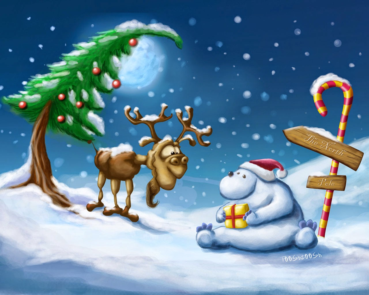 reindeer-and-snowman-chat-in-snow-near-xmas-tree-christmas-cartoon-wallpaper.jpg