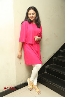 Actress Arundathi Nair Stills in Red Chididar at Bethaludu Success Meet  0135.JPG