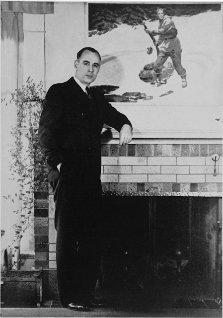 Robert Ormond Case, western author, in front of a painting for his serial, Wings North, that appeared in the Saturday Evening Post in 1938