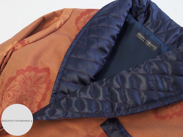 luxury dressing gown man orange blue brown baroque patterned damask paisley long silk lined cotton robe