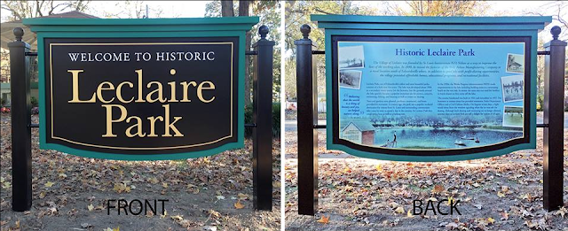 color photo of both sides of park sign for Leclaire Lake Park in Edwardsville, Illinois, fabricated and installed by Dave Thomas Design