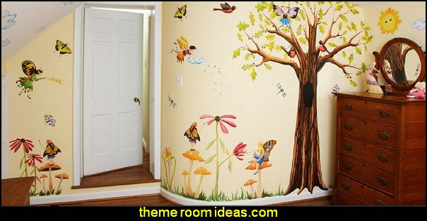 Woodland Fairies  Fairies and Owl  wall - Reusable Wall Decoration
