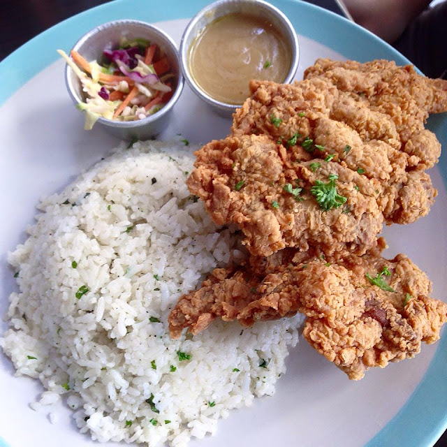 Buttermilk Fried Chicken Chops with coleslaw and pesto rice