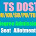 {dost.cgg.gov.in} TS DOST OU/KU/SU/PU/TU/MGU Degree Admissions Seat Allotment 2017
