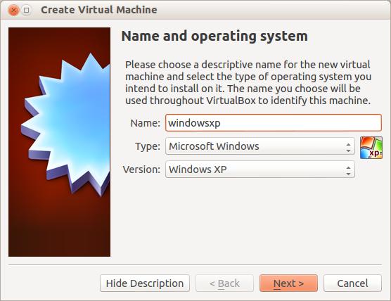 Escribimos y seleccionamos los datos basicos para el OS a virtualizar
