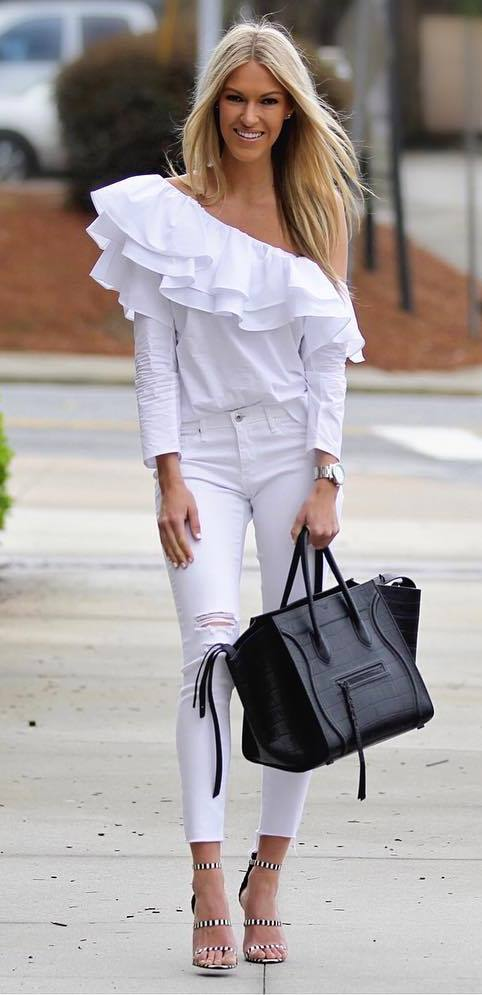 white and black outfit: top + rips + bag