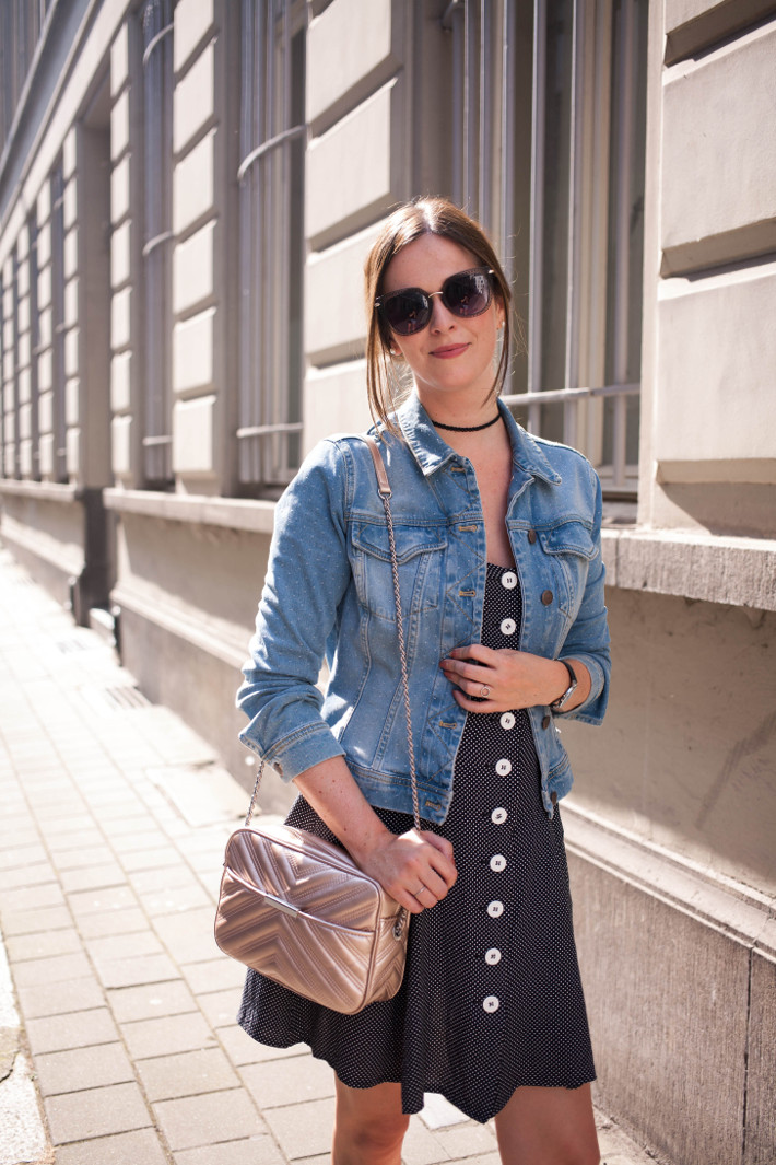 outfit vintage button through dress denim jacket  the