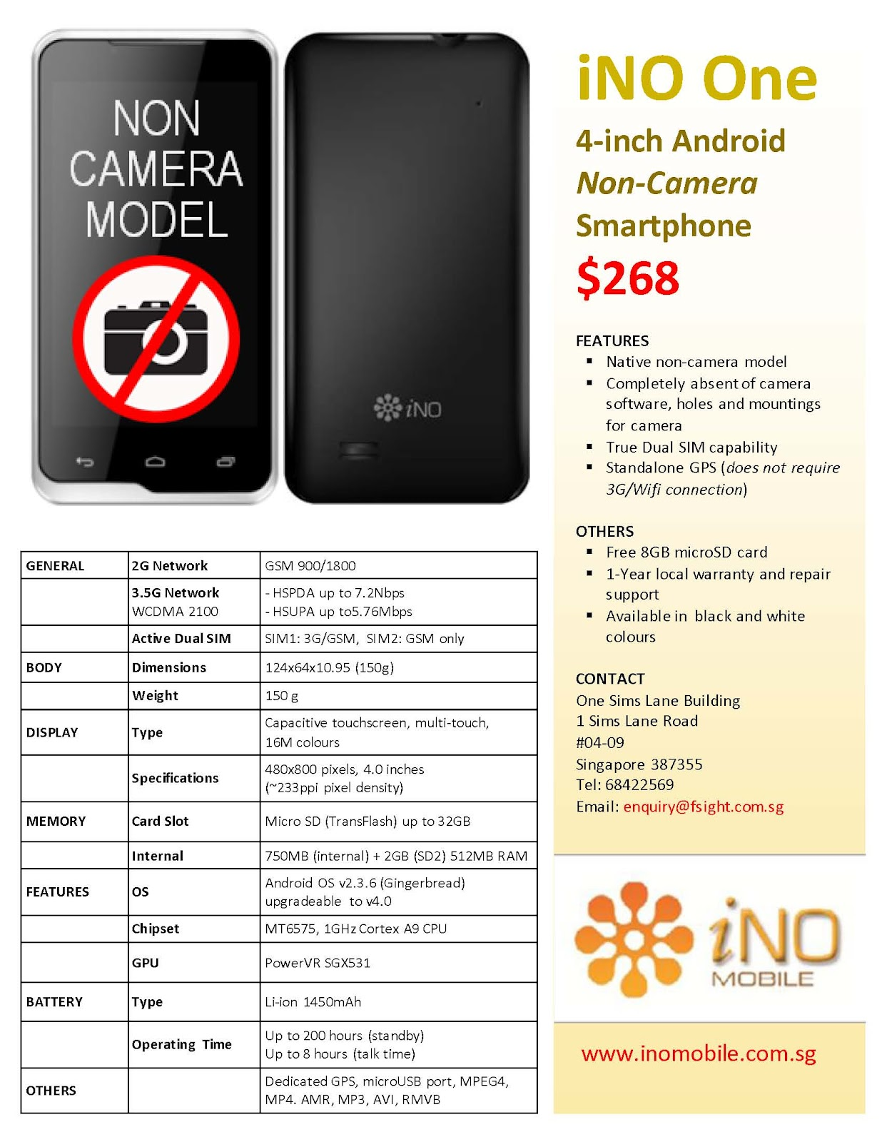 WTS: USED INO ONE NON CAMERA PHONE FOR $50