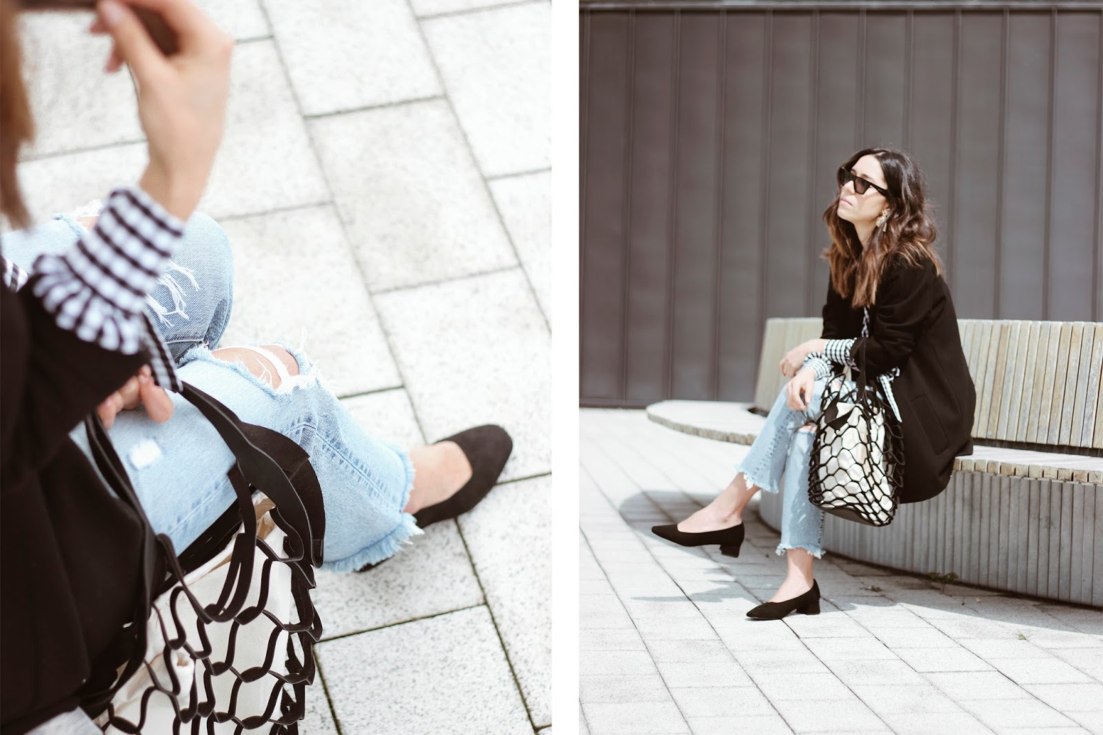JEANS AND PUMPS WITH MESH BAG OUTFIT