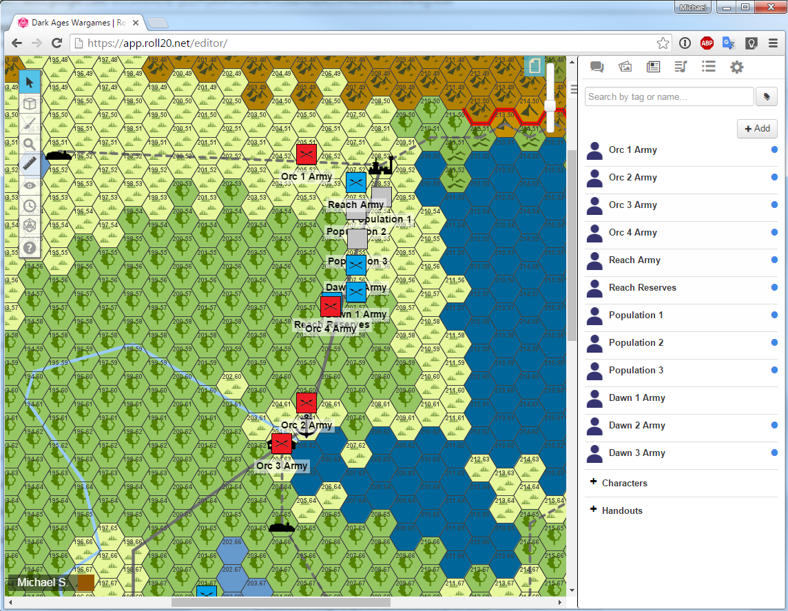 Using Roll20 as my campaign wargames world map