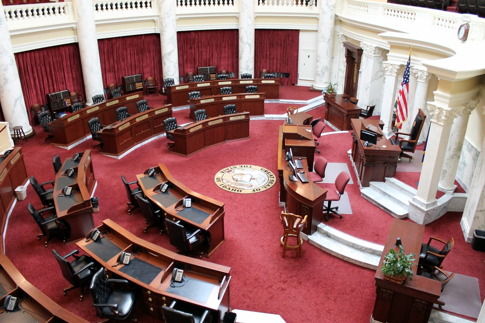 the senate chamber where the red scheme is also similar to the u s capitol there is one senator elected from each of the 35 districts who also serve