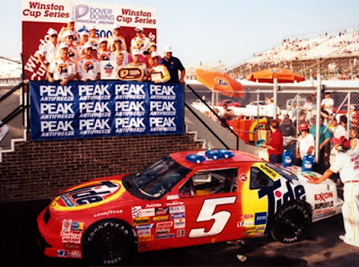 In his 5th race with new sponsor Tide, Rudd won the TranSouth 500 @ Darlington, after starting in 13th~ After this race, Rudd became the points leader, and remained there until the end of the Winston 500 @ Talladega, where he finished 13th~ Ricky finished the season 2nd in points, his career best, picking up 1 pole, 1 win,  9 top 5's, and 17 top 10's~ This was also the season Rudd was wrongly penalized by NASCAR after the Sears Point race in which he spun Davey Allison to take the lead, and pick up the win~ After the race, NASCAR penalized Rudd, and gave Allison the win, infuriating Rudd~