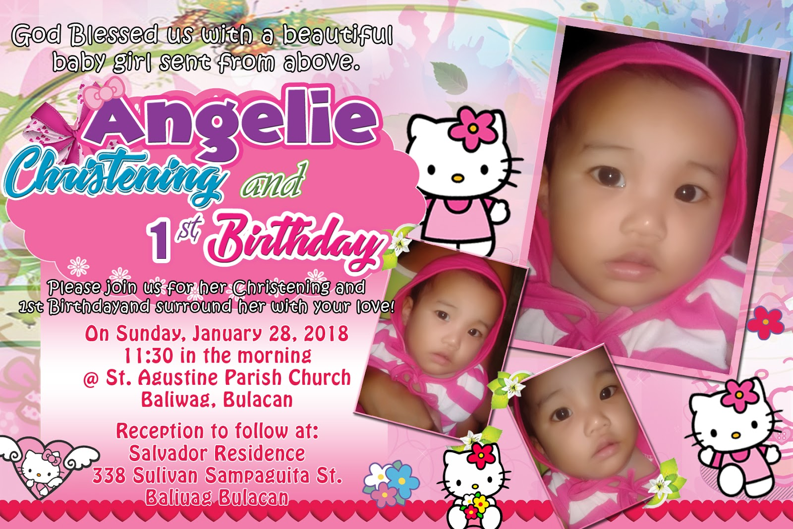 Sample Tarpaulin And Invitation For Christening And First