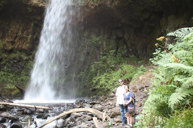 Enjoying waterfalls and Columbia River views near Portland, Oregon.