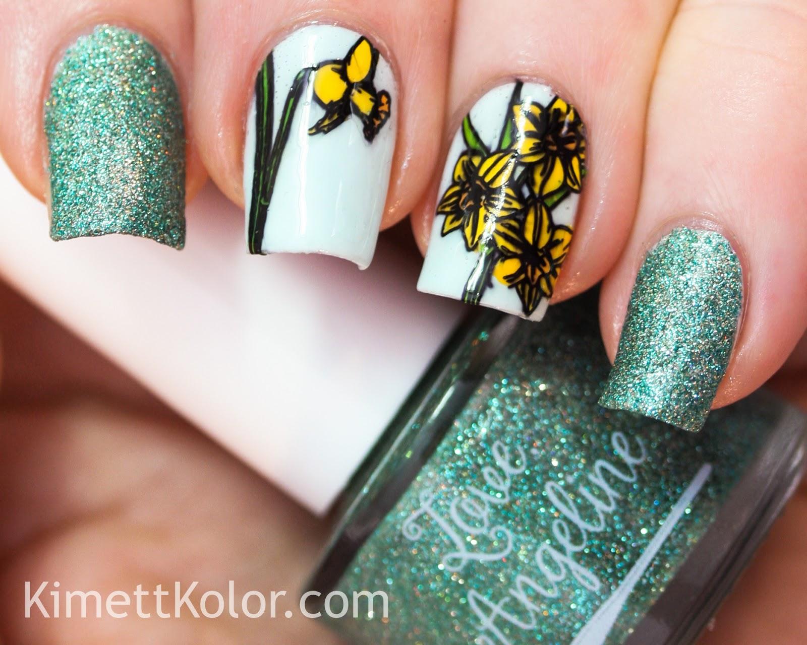 Kimett Kolor Aquamarine Daffodil Nail Art