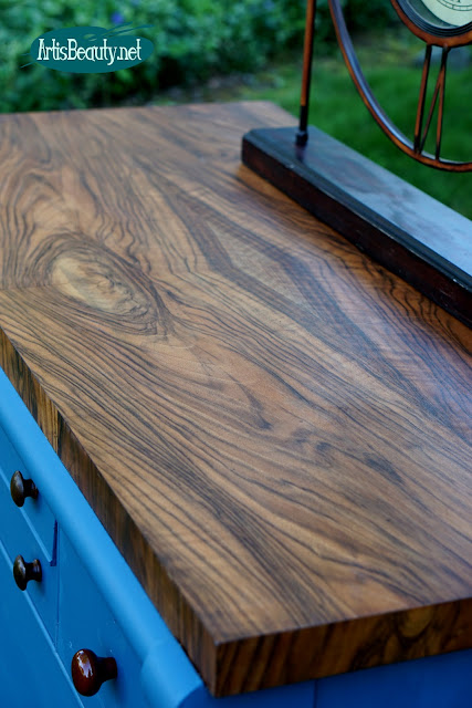 rosewood or walnut custom finished empire buffet dresser makeover sanding staining finishing