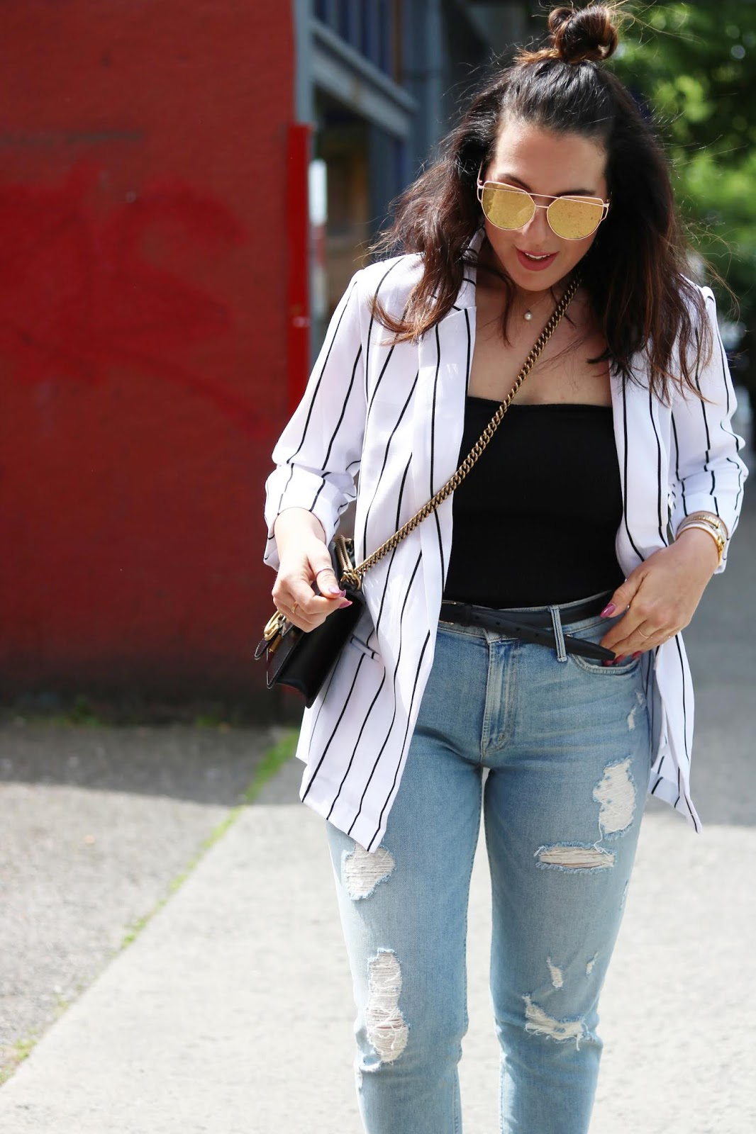 Black and white striped blazer outfit le chateau mother premium jeans tube top vancouver fashion blogger aleesha harris