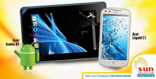 Acer Liquid C1 and Iconia B1 Free At Sun Plan 999