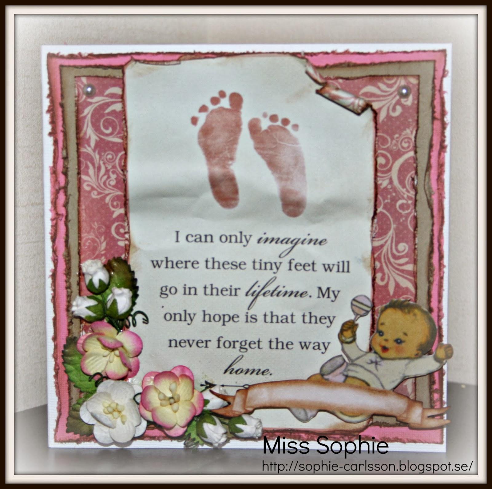 grattis babykort Miss Sophie scrappar grattis babykort