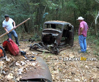 Jody Potter and Ron Kidd steered the 1934 Ford while the Jeep and Keith pulled using a winch.