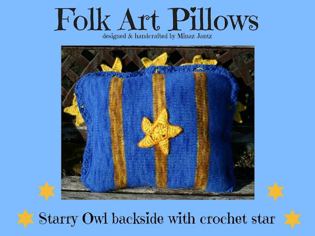Starry Owl designer pillow by Minaz Jantz