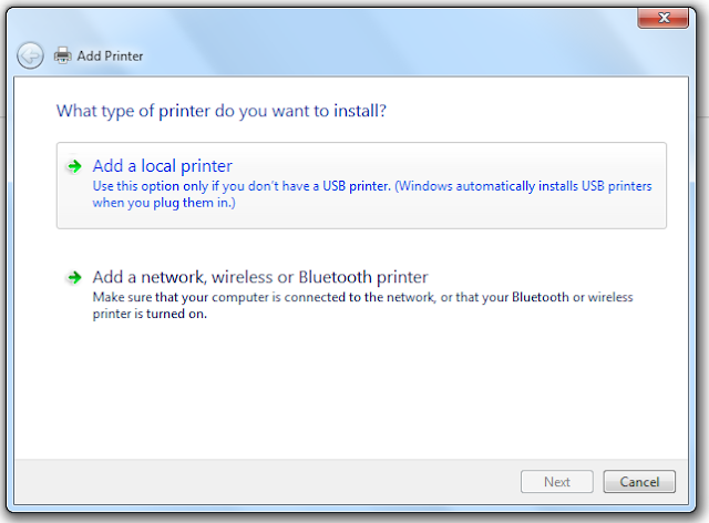Add a Printer Window