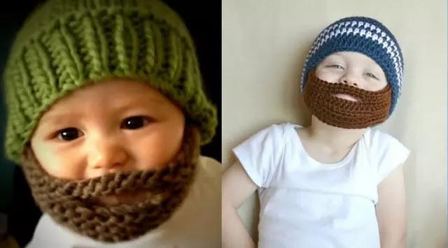 Topi Unik yang Membuat Bayi Seolah Memiliki Kumis dan Jenggot