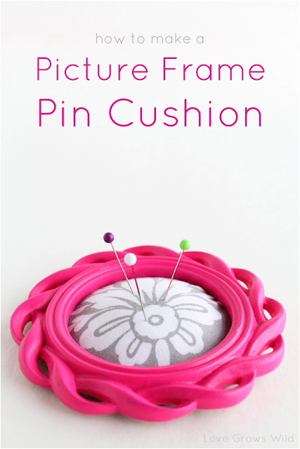 How to Make a Picture Frame Pin Cushion - a simple project to help keep your pins in check while you sew! via www.LoveGrowsWild.com #diy #tutorial