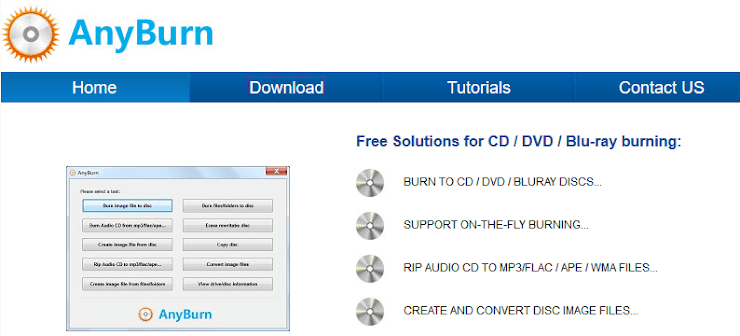 AnyBurn DVD and CD authoring application