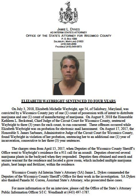 Salisbury News: Conviction and sentencing of Elizabeth Waybright