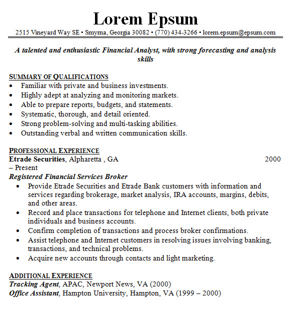Sample Resume Sle Financial Advisor Resume Of Business Sample Resume  Template Financial Advisor Dayjob