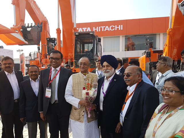 Mr. Amit Mitra, State Finance Minister with Mr. Sandeep Singh MD Tata Hitachi at TATA HITACHI stall at IMME 2016