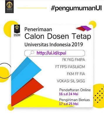 Penerimaan Calon Dosen Tetap Universitas Indonesia 2019