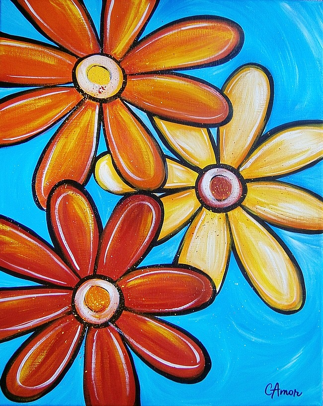 Pop Art Flowers Painting by Catherina Amor