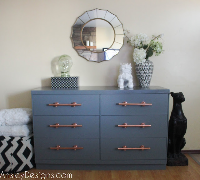 Grey Dresser with DIY Copper Pipe Drawer Pulls