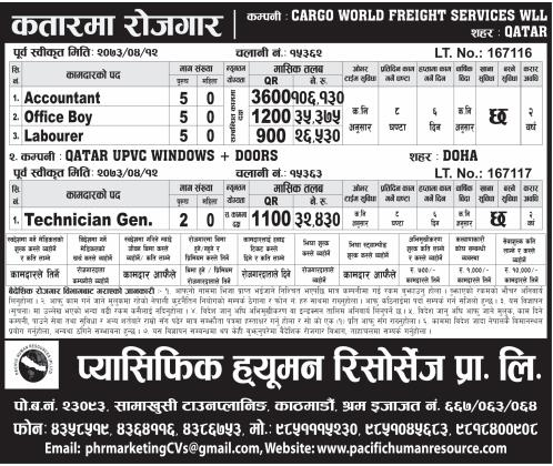 Jobs For Nepali In QATAR, Salary -Rs.1,06,130/