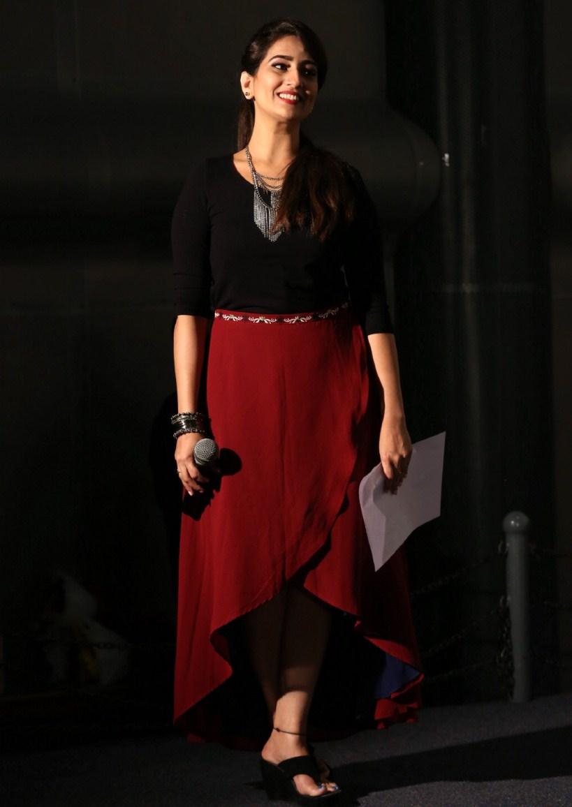 Telugu TV Anchor Hot Photos In Maroon Dress Manjusha