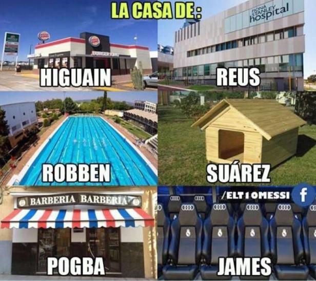 Cada jugador tiene su hogar higuain, reus, roben, james, pogba y Suárez