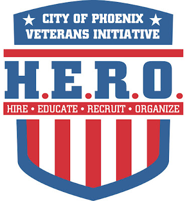 logo for city of phoenix veterans initiative: HERO: Hire, Educate, Recruit and Organize
