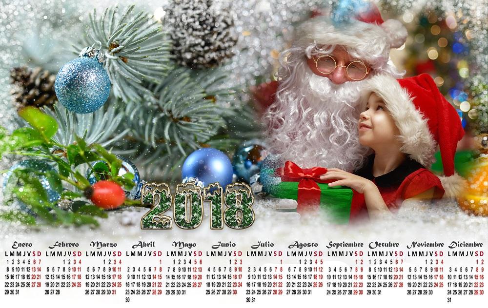 Calendario 2018 psd navidad