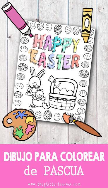 Dibujo para colorear de PASCUA con motivos de la Easter anglosajona: conejito, pollito, huevos y cesta. Imprimible gratis para descargar y utilizar como portada o fast-finisher en el aula de inglés de educación infantil y/o educación primaria