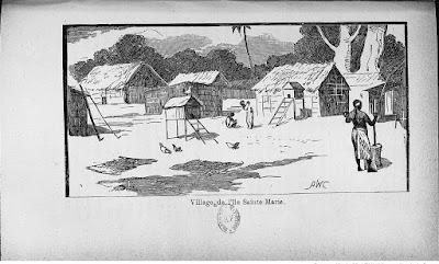 Gravure ancienne, village Sainte-Marie Madagascar