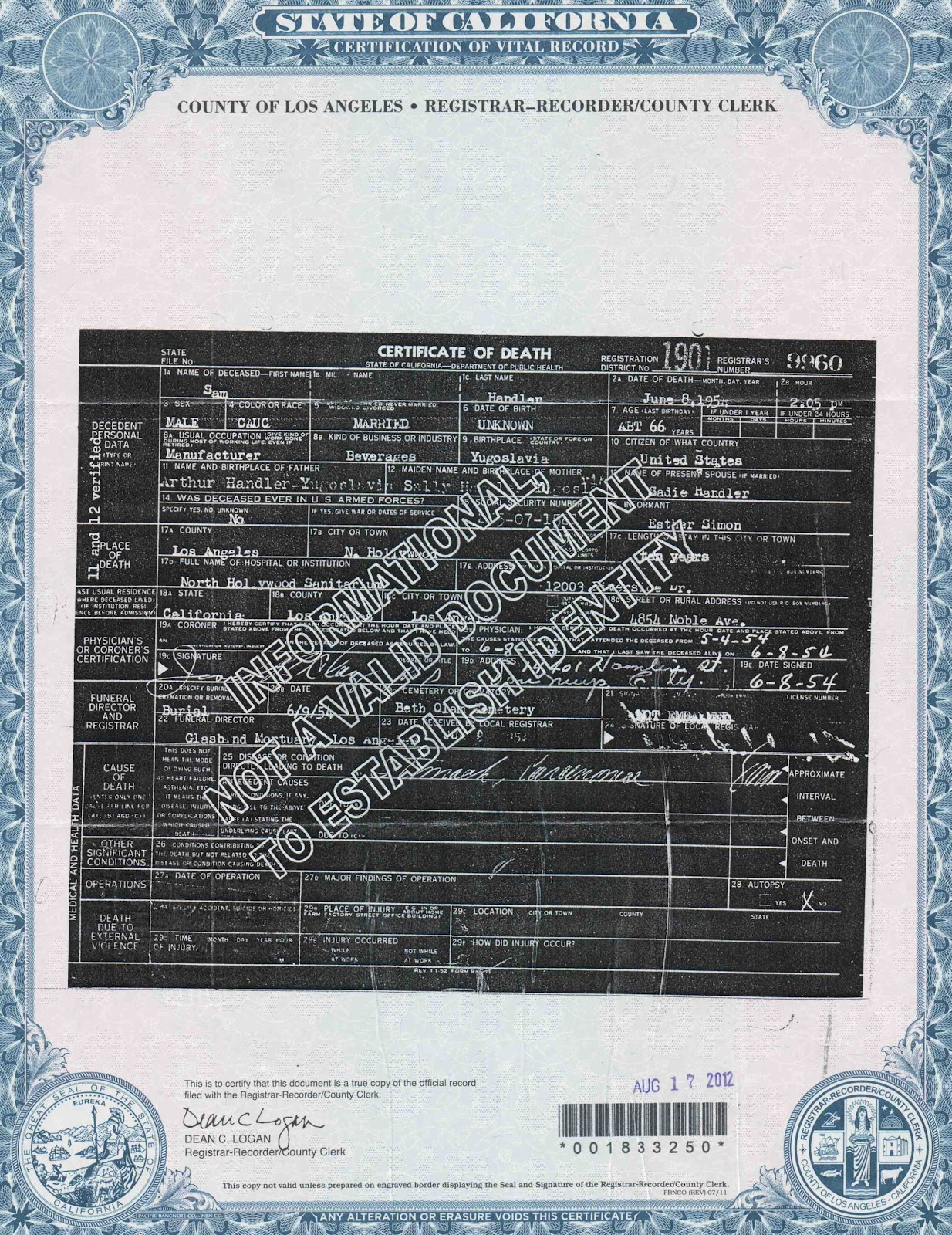 A jewish genealogy journey amanuensis monday sam handlers it was very easy to download a form at the website for the los angeles county registrar recordercounty clerk and send away for his death certificate xflitez Image collections