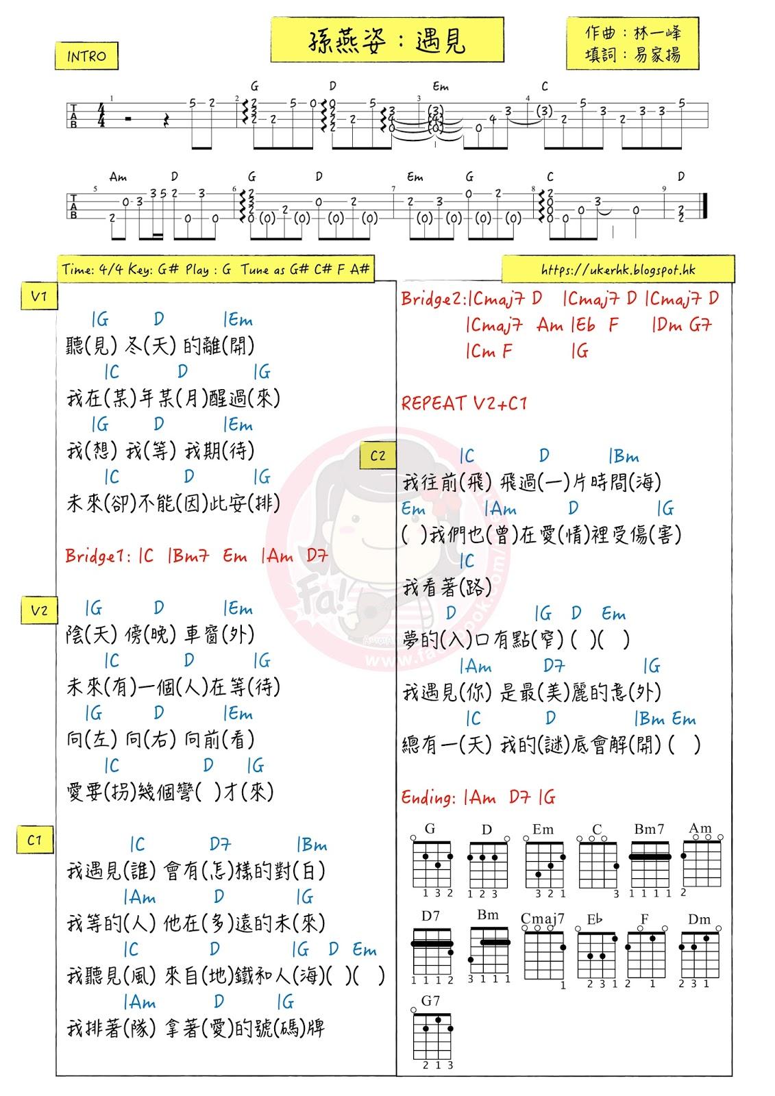 ukulelemania: #244 孫燕姿:遇見 ukulele chord譜