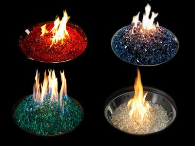 pierres de verre de différentes couleurs (fireglass)
