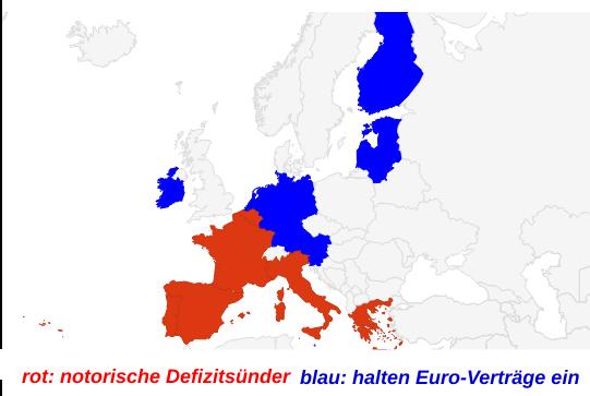 Eurozonen-Karte nach Defizitsündern und Euroländern, die sich an den Maastricht-Vertrag halten