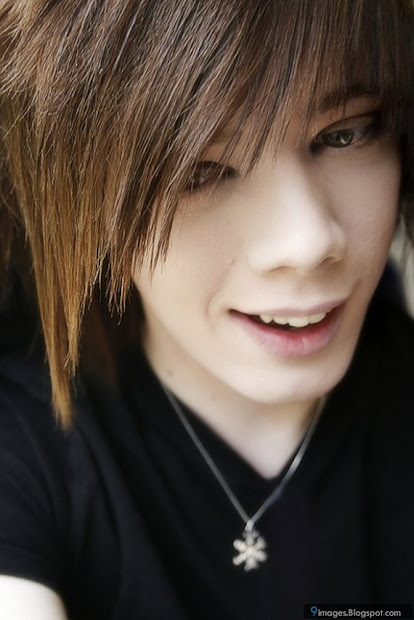 emo boy hairstyle cute smile
